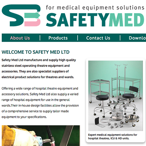The website design of Safety Medical, Stockport based company